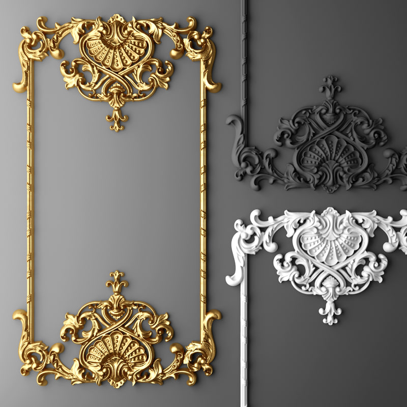 Baroque frame 3d max for 3d decoration models
