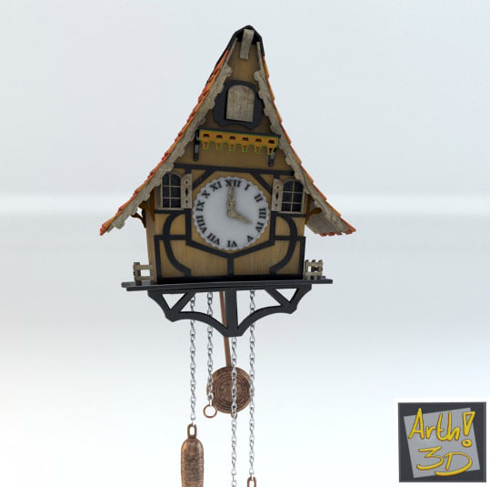 clock relogio cuco 3d model