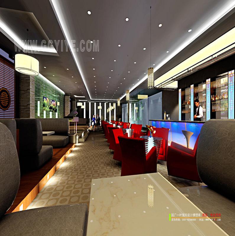 modern restaurant 3d max
