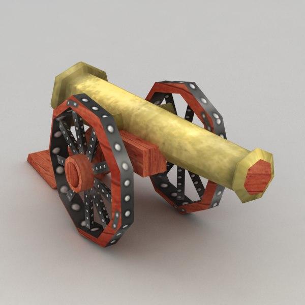 3d model cannon polys