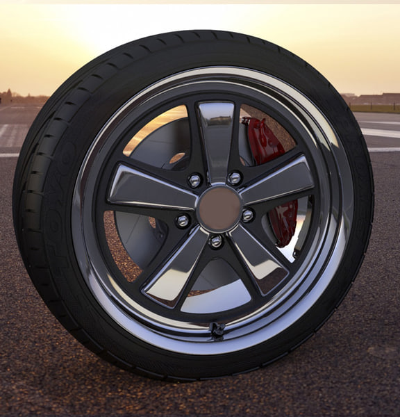 3d model fusch inspired wheel