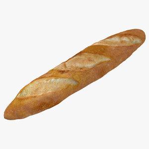 baguette modeled realistic 3d model