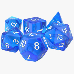 3ds max polyhedral dice set blue