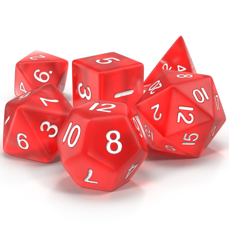 3ds polyhedral dice set red