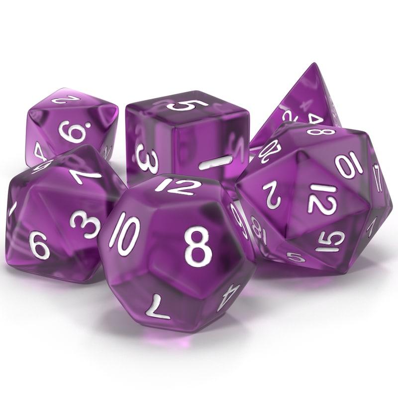 polyhedral dice set violet 3d model