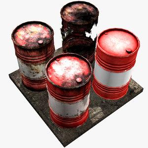 industrial barrel used old obj