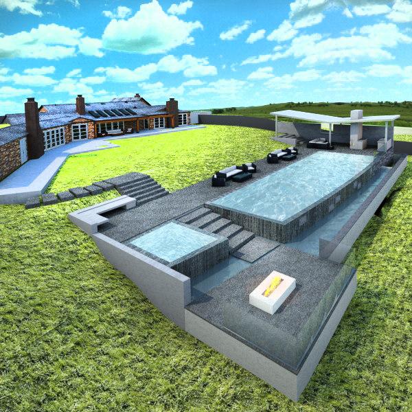 3d house spa pool model