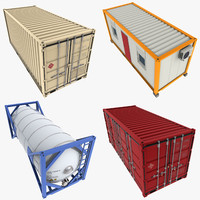 3d model of 20 feet containers pack