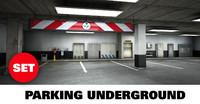3d model scene underground parking