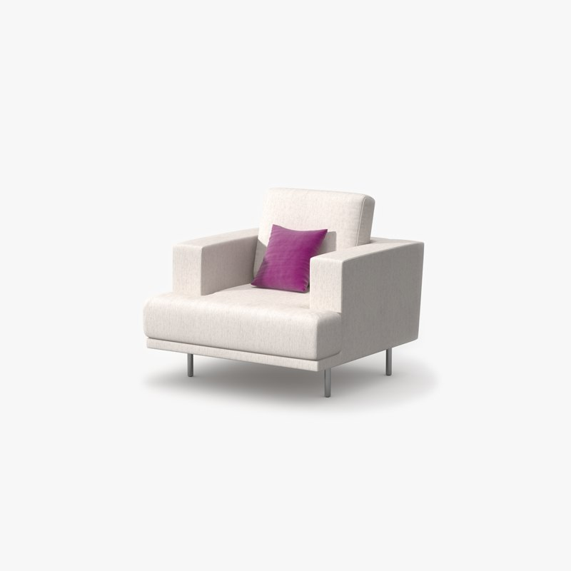 3d single sofa fabric model
