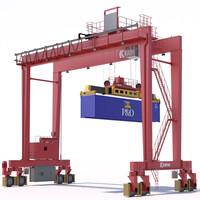 3d rtg gantry crane kalmar model