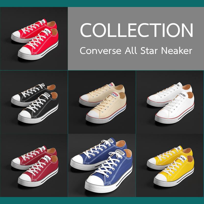 3d model converse star sneakers