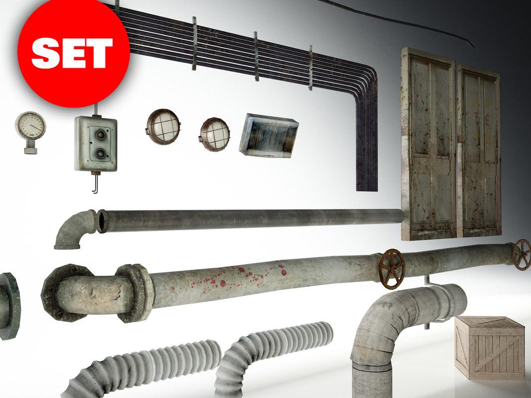 3d pipes set model