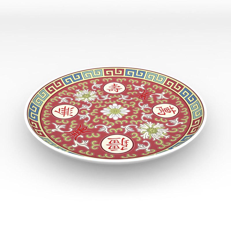 traditional chinese porcelain dinner plate 3d model
