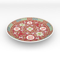 traditional chinese porcelain dinner plate 3d model