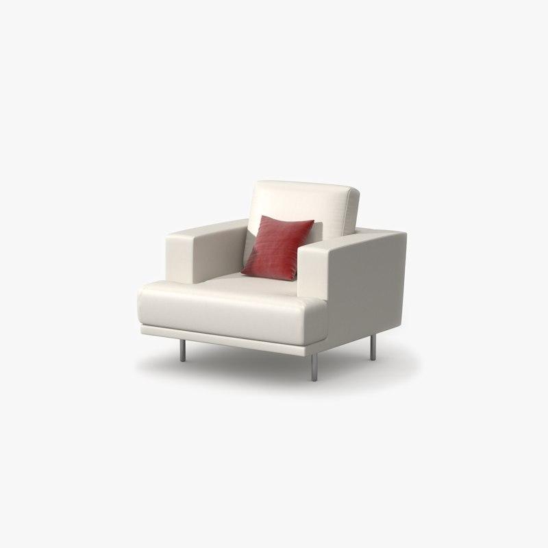 single sofa leather 3d 3ds
