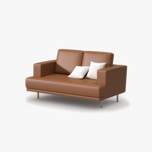 double sofa tan leather 3d max