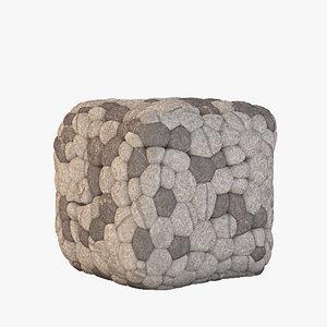 cube ottoman pouf 3d model