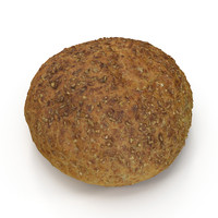 3d model brown bread roll
