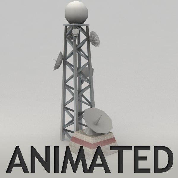 radar tower animation 3d model