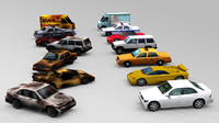 Cars set  lowpoly
