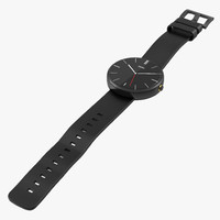 Smartwatch Moto 360 2 Black Leather Band 3D Model
