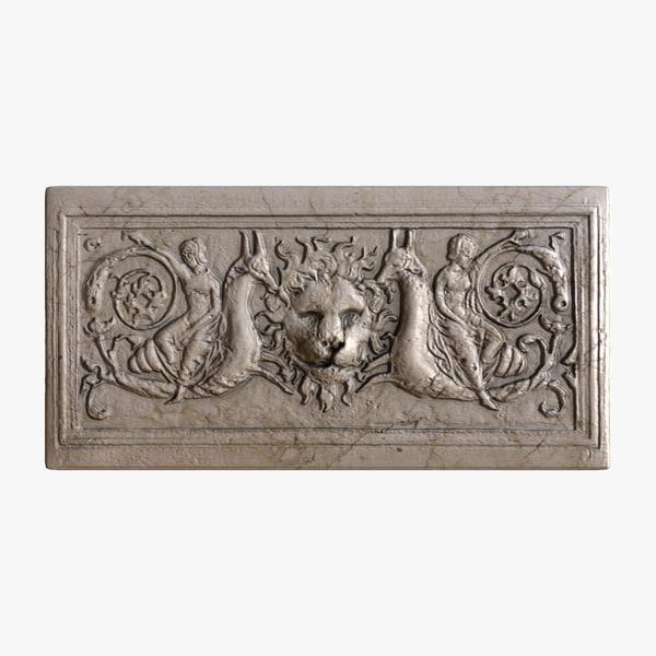 3d greek bas-relief lion architecture model