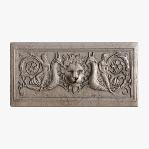 3d greek bas-relief lion architecture model