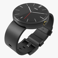 Smartwatch Moto 360 Black Leather Band 3D Model