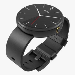 3d model smartwatch moto 360 black leather