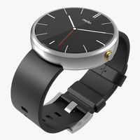 Smartwatch Moto 360 Silver Leather Band 3D Model