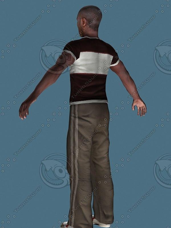 3d sportive black man
