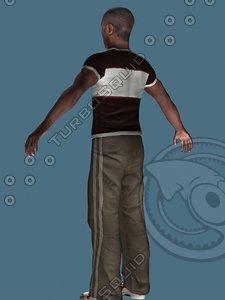 sportive black man 3d model