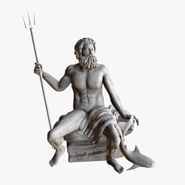 3d model of statue poseidon