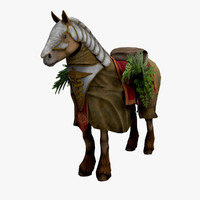 3d horse robe plants model
