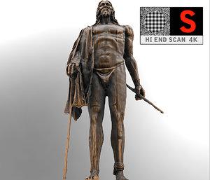 3d sculpture monument figure guanchen model