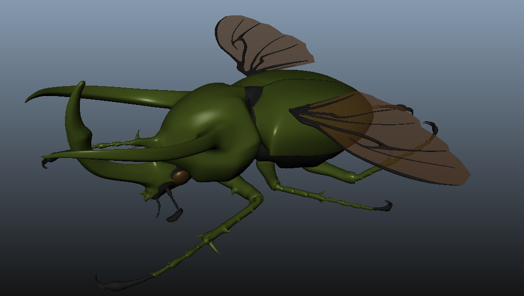 3d chalcosoma atlas beetle shaded