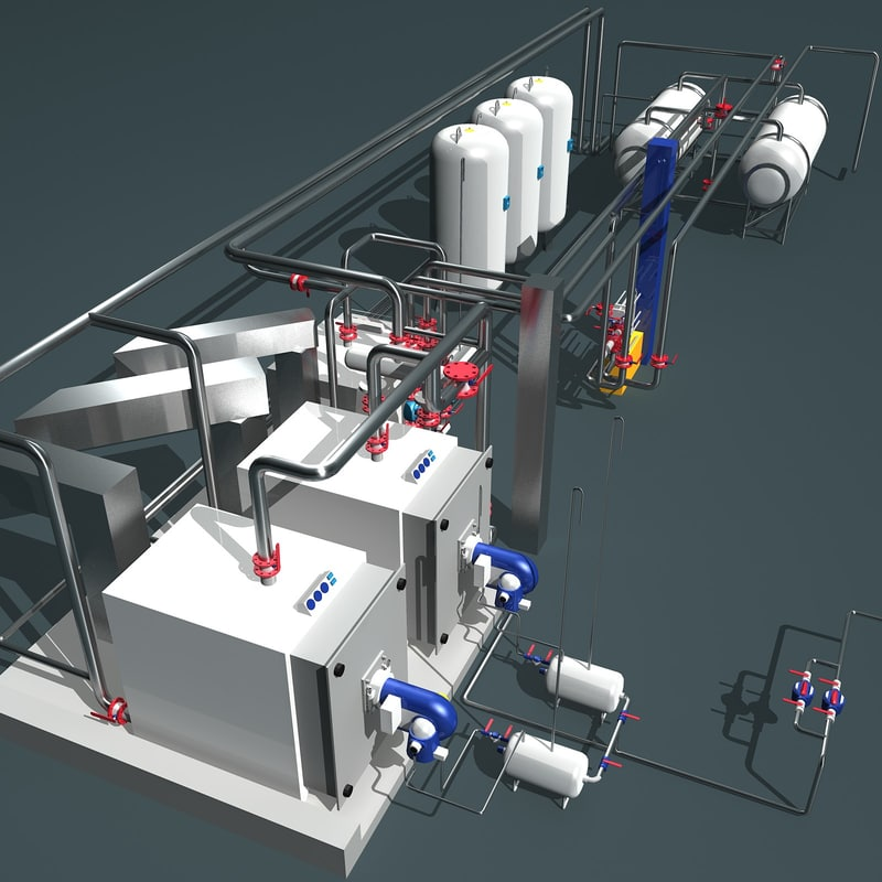obj industrial boiler room