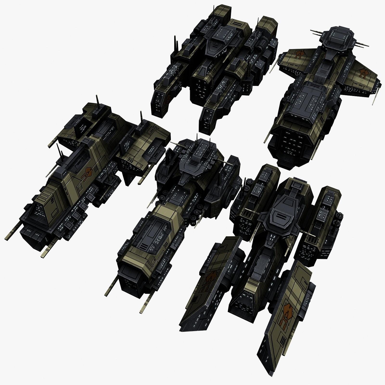 5 civilian transport spaceships 3d max