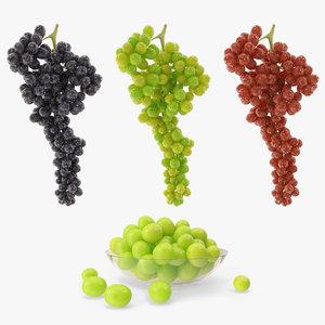 3d grapes green black