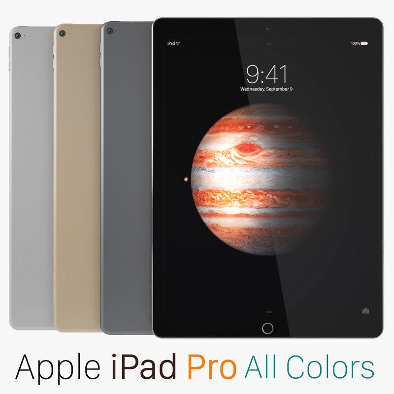 3d apple ipad pro colors