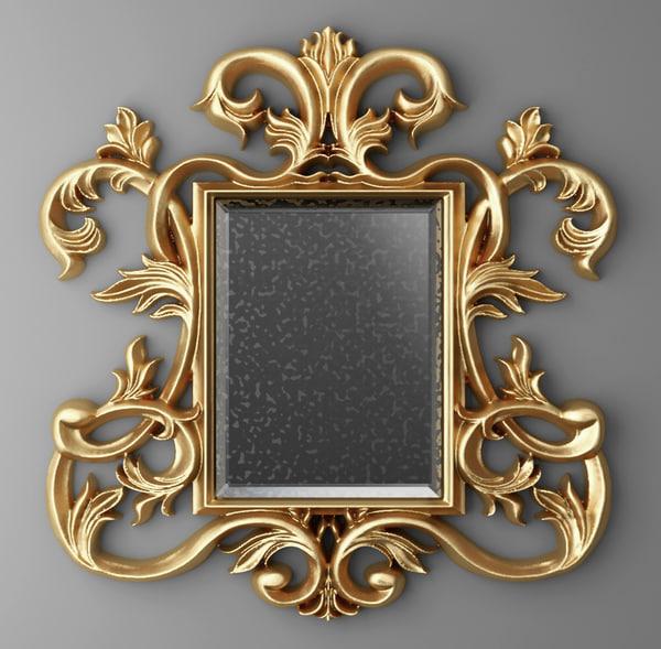 3d baroque frame mirror model