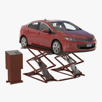Automotive Scissor Lift Generic Rigged and Hybrid Car