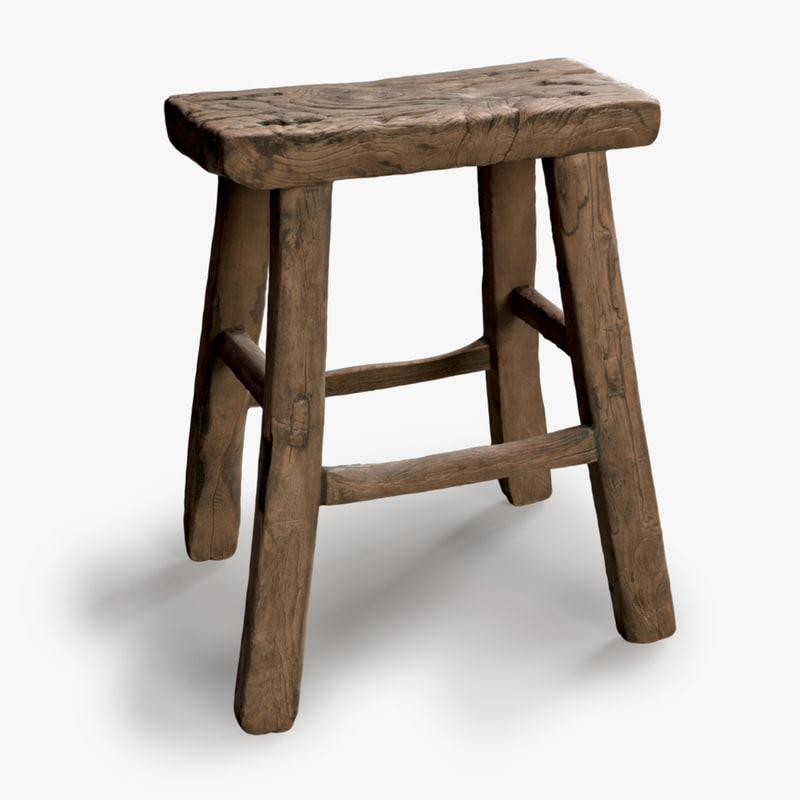 Square Vintage Wood Stool 3d Model