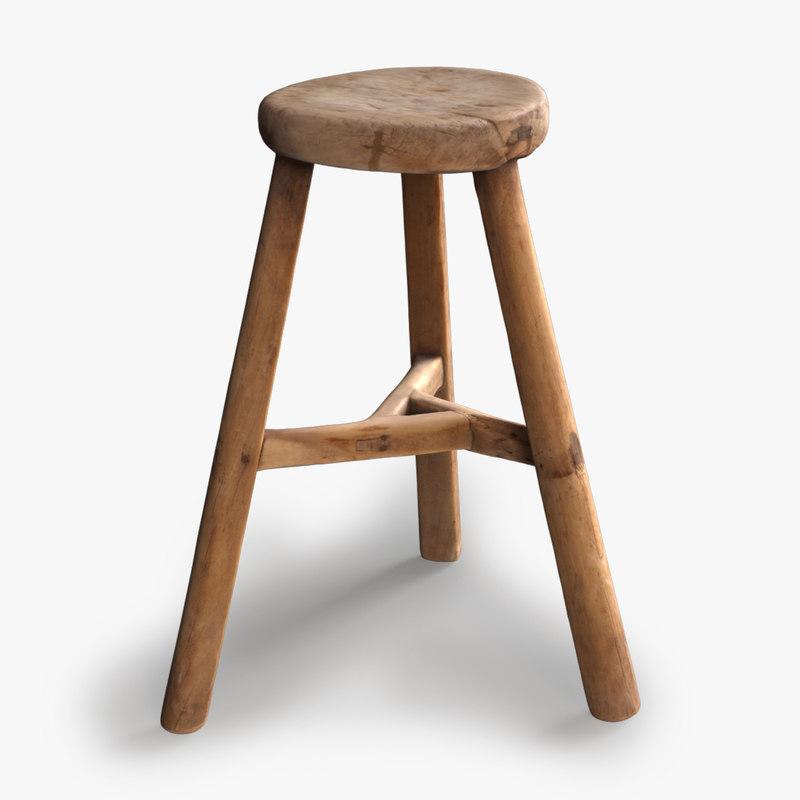 Realistic Vintage Wood Stool & square vintage wood stool 3d model islam-shia.org