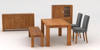 3d model dining room oak furniture