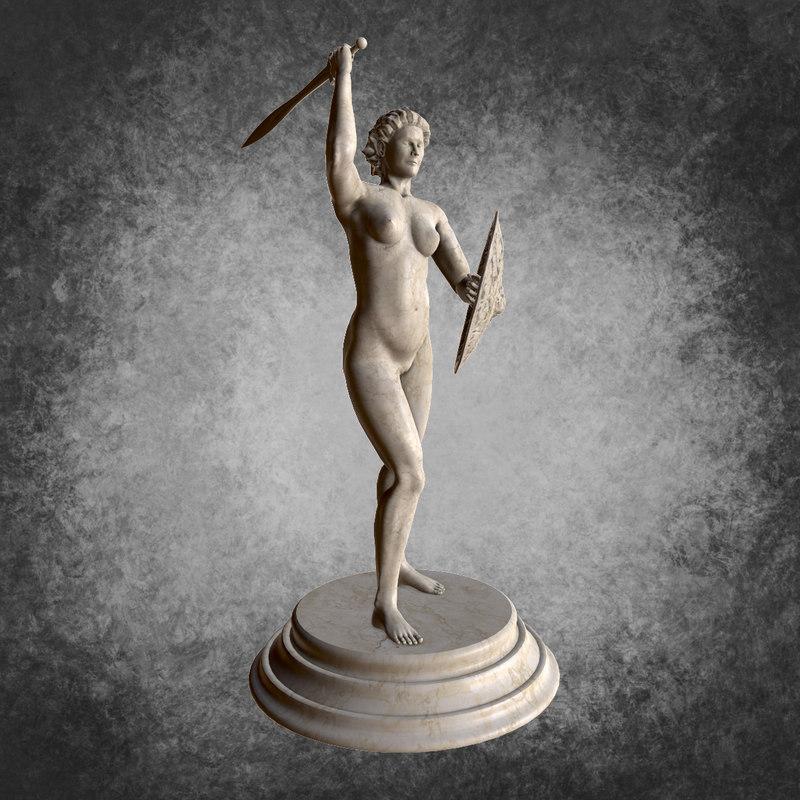 classic statue warrior woman 3d model