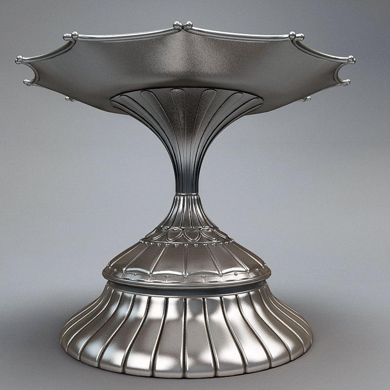 shiny silver metal plate 3d model