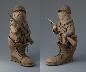 sculpture animation 3d obj