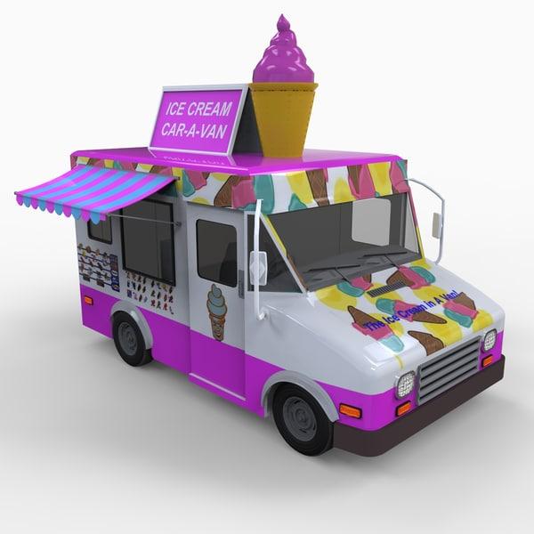 ice cream truck vehicle 3d model